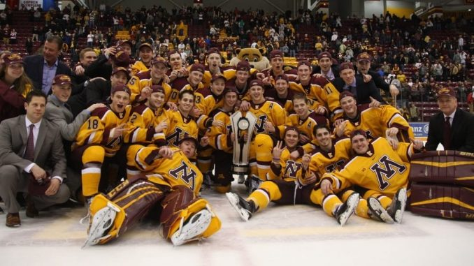 Gophers Celebrate Title with Big Ten Trophy